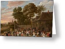 Peasants Dancing And Feasting Greeting Card