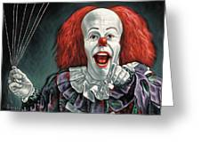 pennywise the dancing clown or bob gray painting by jorge terrones pennywise the dancing clown or bob gray greeting card
