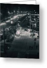 People At Night From Arerial View Greeting Card