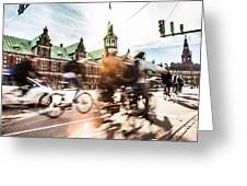 People Cycling In Copenhagen Greeting Card