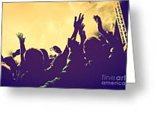 People With Hands Up In Night Club Greeting Card