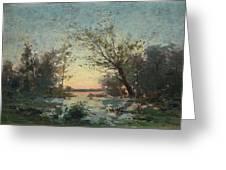 Per Ekstrom, French Landscape In Sunset. Greeting Card