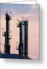 Petrochemical Plant Industry Zone Twilight Greeting Card