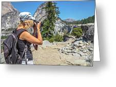 Photographer In Yosemite Waterfalls Greeting Card