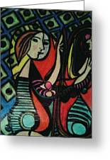 Picasso's Girl Beside A Mirror Greeting Card