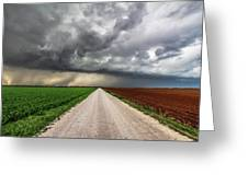 Pick A Side - Colorful Fields Divided By Road On Stormy Day In Oklahoma. Greeting Card