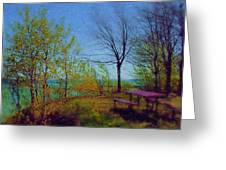 Picnic Table By The Lake Greeting Card