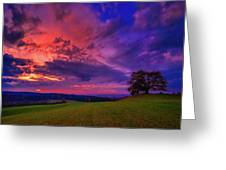 Picturesque Rural Sunset Greeting Card