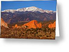 Pike's Peak And Garden Of The Gods Greeting Card by Jon Holiday