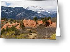Pikes Peak From Red Rocks Canyon Greeting Card