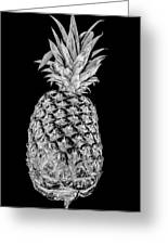 Pineapple Isolated On Black Greeting Card