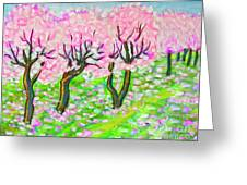 Pink Cherry Garden In Blossom Greeting Card