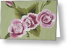 Pink Miniature Roses Greeting Card