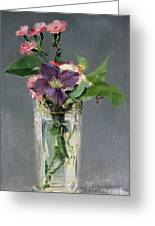 Pinks And Clematis In A Crystal Vase Greeting Card