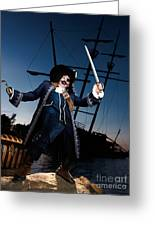 Pirate With A Treasure Chest Greeting Card