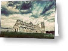 Pisa Cathedral With The Leaning Tower Of Pisa, Tuscany, Italy. Vintage Greeting Card