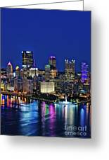 Pittsburgh Night Skyline Greeting Card