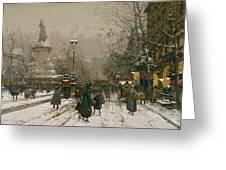 Place De La Republique In Winter Greeting Card