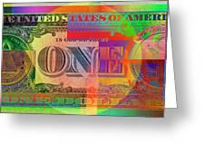 Pop-art Colorized One U. S. Dollar Bill Reverse Greeting Card