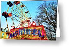 Portable Ferris Wheel Victorian Winter Fair Greeting Card