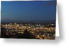 Portland At Dusk Greeting Card