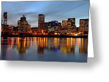 Portland Oregon At Dusk. Greeting Card by Gino Rigucci