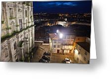 Porto By Night In Portugal Greeting Card