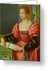 Portrait Of A Woman With A Book Of Music Greeting Card