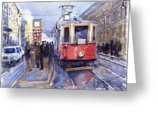 Prague Old Tram 03 Greeting Card