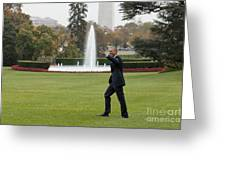 President Obama - White House South Lawn #1 Greeting Card