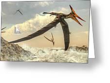 Pteranodon Birds Flying - 3d Render Greeting Card