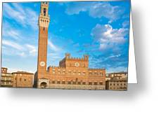 Public Palace With The Torre Del Mangia In Siena, Tuscany Greeting Card