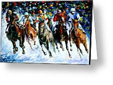 Race On The Snow Greeting Card