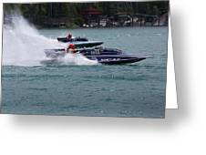 Racing Hydroplanes Boats On The Detroit River For Gold Cup Greeting Card