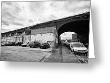 railway viaduct in oxford street former industrial area of digbeth now a conservation area Birmingha Greeting Card