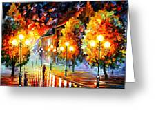 Rain In The Night City Greeting Card