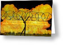 Realistic Orange Fire Explosion Behind Restricted Area Barbed Wire Fence Greeting Card