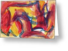 Red Abstract Painting Greeting Card