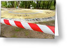 Red And White Barricade Tape Greeting Card