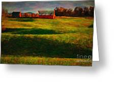 Rolling Hills And Red Barn, Rock Island, Tennessee Greeting Card