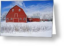 Red Barn, Winter, Grande Pointe Greeting Card