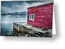 Red Boathouse In Norris Point, Newfoundland Greeting Card