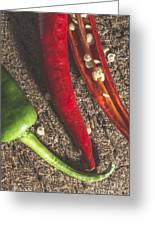 Red Hot Peppers On Wooden  Cutting Board Greeting Card