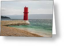 Red Lighthouse Of Cres On A Cloudy Day In Spring Greeting Card