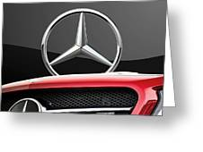 Red Mercedes - Front Grill Ornament And 3 D Badge On Black Greeting Card