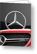 Red Mercedes - Front Grill Ornament And 3 D Badge On Black Greeting Card by Serge Averbukh