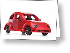 Red Retro Wooden Toy Car Isolated On White Background Greeting Card