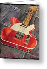 Red Telecaster Greeting Card