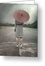 Red Umbrella Greeting Card by Joana Kruse
