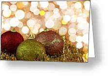 Red,yellow And Gold Cristmas Baubles Greeting Card